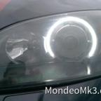 Scheinwerfer geschwärzt und SMD Ringe verbaut (Frontal)